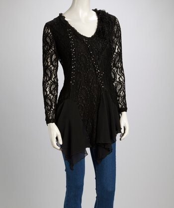 Black Lace Ruffle Sequin Linen-Blend Tunic