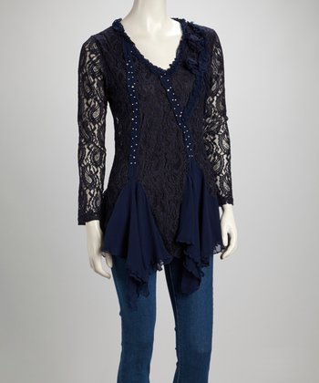 Blue Lace Ruffle Sequin Linen-Blend Tunic