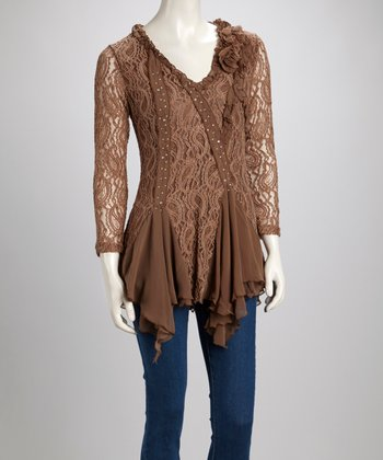 Brown Lace Ruffle Sequin Linen-Blend Tunic