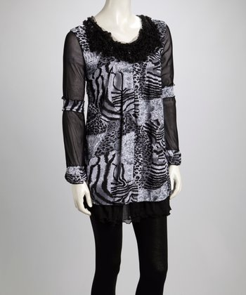 Black & Gray Animal Ruffle Linen-Blend Long-Sleeve Tunic