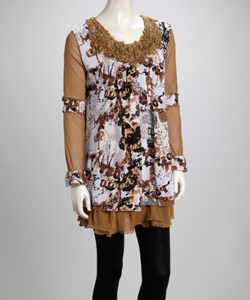 Brown & Cream Butterfly Ruffle Linen-Blend Long-Sleeve Tunic