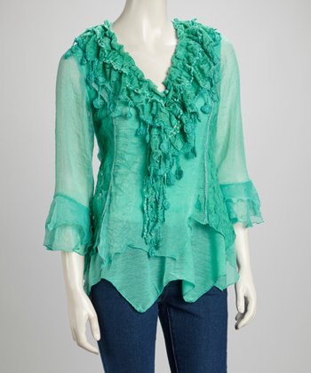 Aqua Lace Ruffle Silk-Blend Handkerchief Top