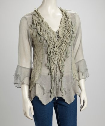 Gray Lace Ruffle Silk-Blend Handkerchief Top