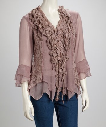 Mauve Lace Ruffle Silk-Blend Handkerchief Top