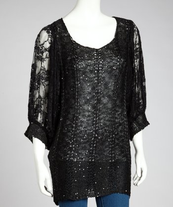 Black Sequin Linen-Blend Dolman Top