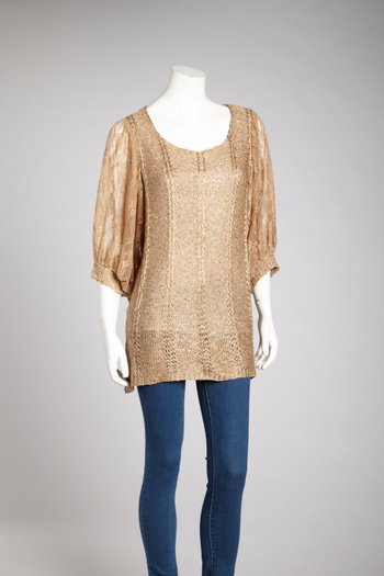 Brown Sequin Linen-Blend Dolman Top