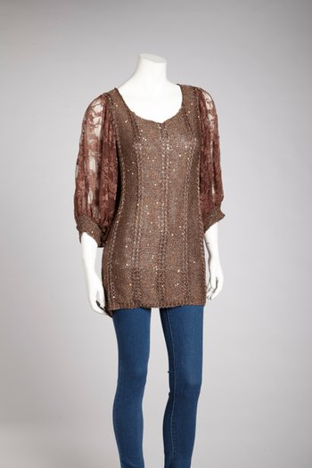 Coffee Sequin Linen-Blend Dolman Top
