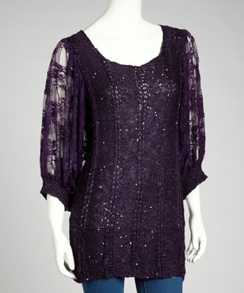 Dark Purple Sequin Linen-Blend Dolman Top