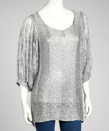 Gray Sequin Linen-Blend Dolman Top
