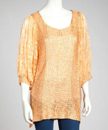 Orange Sequin Linen-Blend Dolman Top