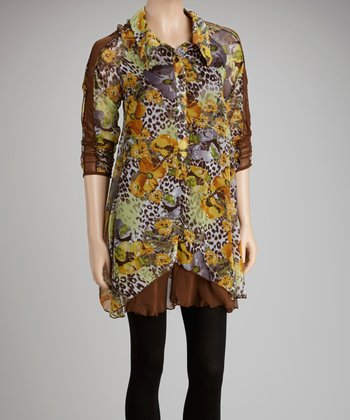 Yellow & Coffee Silk-Blend Tunic