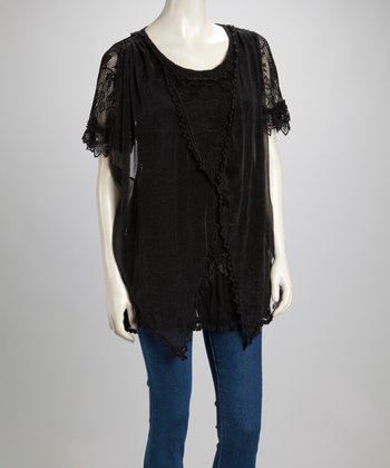 Black Lace Linen-Blend Short-Sleeve Tunic