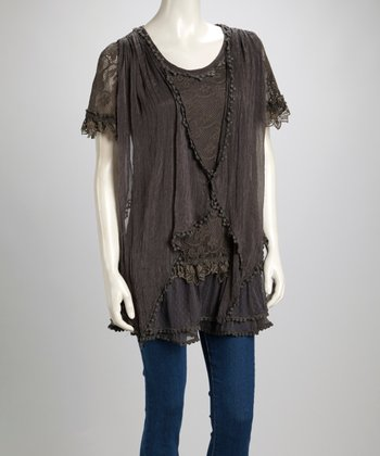 Gray Lace Linen-Blend Short-Sleeve Tunic