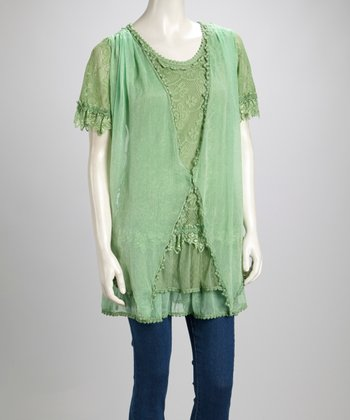 Light Green Lace Linen-Blend Short-Sleeve Tunic