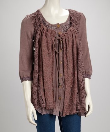 Mauve Lace Scoop Neck Linen-Blend Button-Up Tunic
