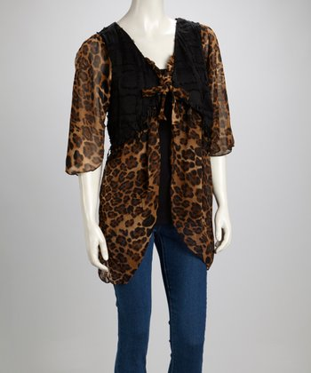 Brown & Coffee Leopard Linen-Blend Layered Top