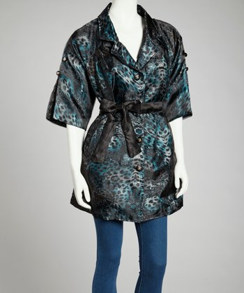 Turquoise & Black Leopard Silk-Blend Jacket