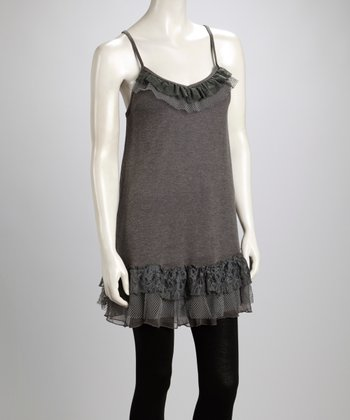 Gray Lace Ruffle Silk-Blend Camisole Tunic