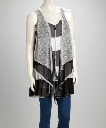 Black & Cream Lace Silk-Blend Sleeveless Swing Tunic