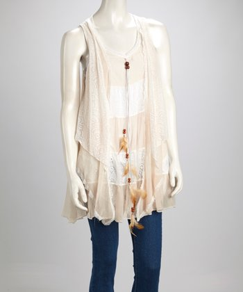 Caramel & Cream Lace Silk-Blend Sleeveless Swing Tunic