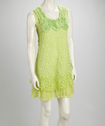 Light Green Lace Ruffle Linen-Blend Sleeveless Dress