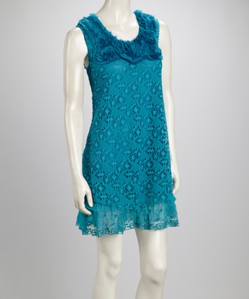 Light Turquoise Lace Ruffle Linen-Blend Sleeveless Dress