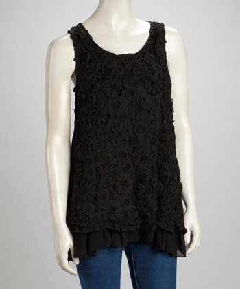 Black Floral Scoop Neck Silk-Blend Sleeveless Top