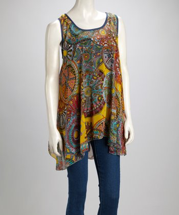 Aqua & Yellow Status Silk-Blend Swing Tunic