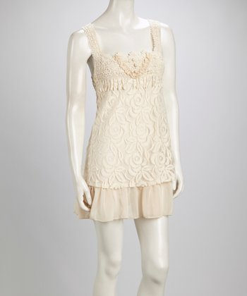 Caramel Lace Scoop Neck Linen-Blend Sleeveless Dress