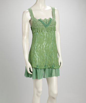 Light Green Lace Linen-Blend Sleeveless Dress
