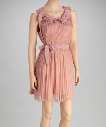 Mauve Pleated Silk-Blend Dress