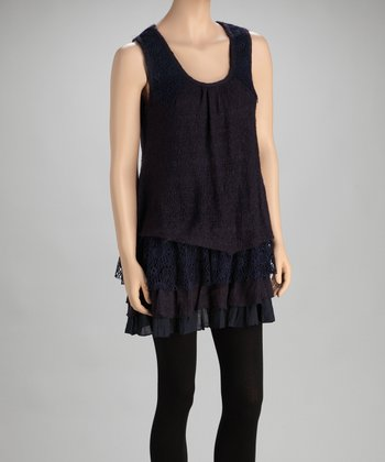 Dark Blue Ruffle Drop-Waist Tunic