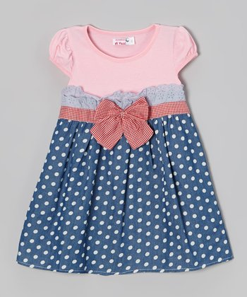 Blue & Pink Polka Dot A-Line Dress - Toddler & Girls