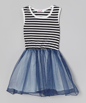 Black & White Stripe Tutu Dress - Toddler & Girls