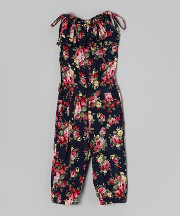 Black & Red Floral Ruffle Tie Jumpsuit - Girls