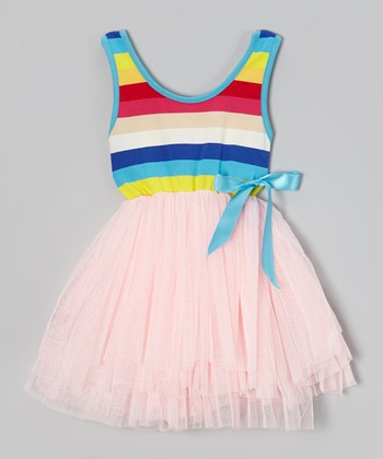 Pink Rainbow Stripe Tutu Dress - Toddler & Girls