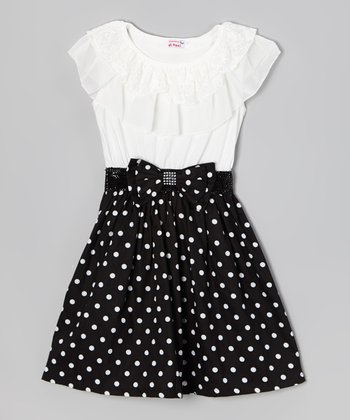 Black & White Polka Dot Ruffle Dress - Girls