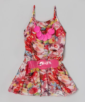 Pink Rose Chiffon Belted Dress - Girls