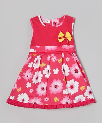 Pink & Yellow Daisy A-Line Dress - Toddler & Girls