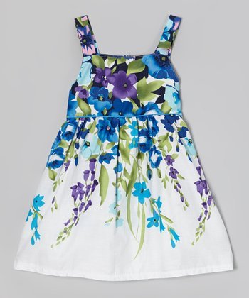 White & Blue Flower A-Line Dress - Girls