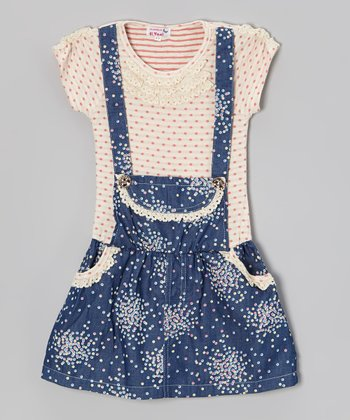 Pink Polka Dot Cluster Jumper Dress - Toddler & Girls