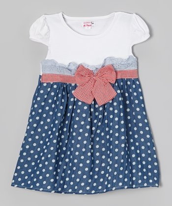 White & Blue Polka Dot A-Line Dress - Toddler & Girls