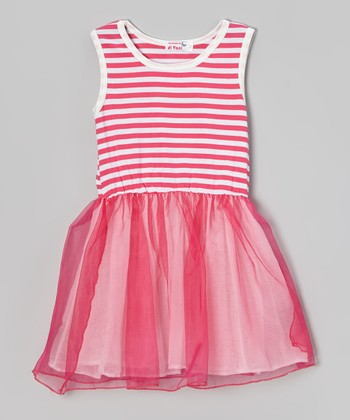 Pink & White Stripe Tutu Dress - Toddler & Girls