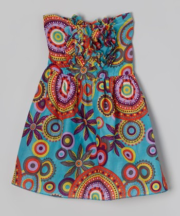 Blue & Orange Floral Halter Dress - Toddler & Girls