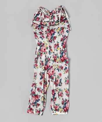 White & Red Floral Ruffle Tie Jumpsuit - Toddler & Girls