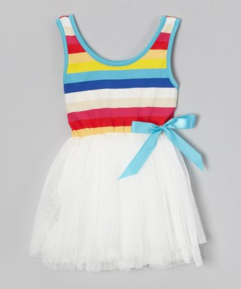 White Rainbow Stripe Tutu Dress - Toddler & Girls