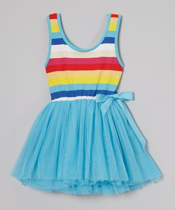 Blue Rainbow Stripe Tutu Dress - Toddler