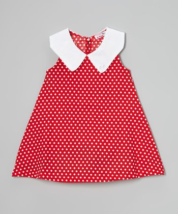 Red Polka Dot Peter Pan Collar Dress - Toddler & Girls