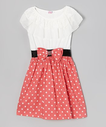 White & Coral Polka Dot Ruffle Dress - Girls
