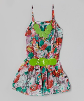 Green Floral Belted Dress - Girls